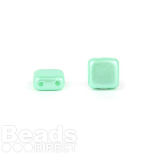 Preciosa Pressed Twin Hole Tile Square 6mm Frosted Mint Pk20