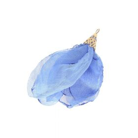 Chiffon flower / with openwork tip / 55mm / Gold Plated / blue / 1pc
