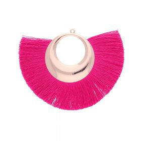 Fan tassel / viscose thread with moon base / 90mm / dark pink / 1pcs