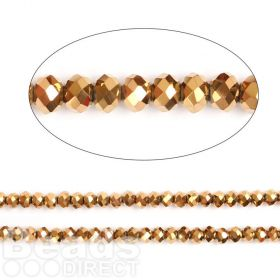 "Gold Full Coat Essential Crystal Glass Faceted Rondelle Beads 8mm 16""Strand"
