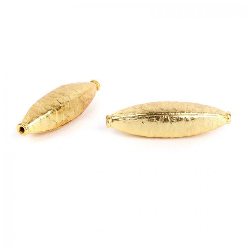 Gold Plated Large Oval Fancy Metal Beads 9x35mm Pk2