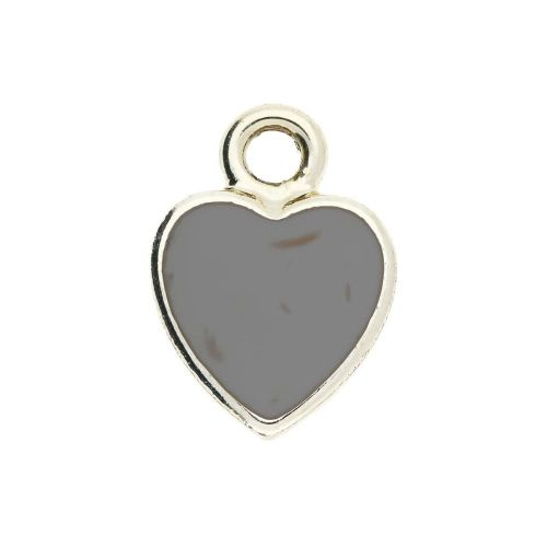 SweetCharm ™ Heart / pendant / 14x11x0.5mm / gold plated / grey inlay / 2pcs