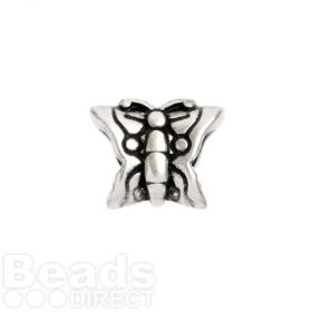 Antique Silver Zamak Butterfly Charm Bead 11x13mm Hole is 5mm Pk1