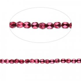Preciosa Czech Fire Polished Beads 4mm Shiny Ruby Pk100
