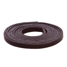 Leather cord / natural / flat / 4x2mm / dark brown / 1m