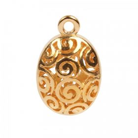 Gold Plated Zamak Filigree Egg Charm 27x17mm Pack 1
