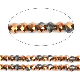 "Bronze 1/2 Coated Essential Crystal Glass Faceted Rondelle Beads 6mm 16""Strand"