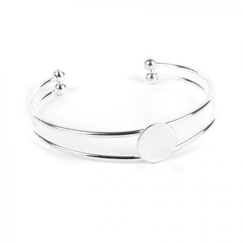 Silver Plated Double Bangle Base with 14mm Flat Disk Pk1