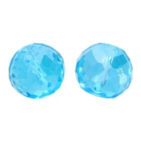 CrystaLove™ crystals / glass / faceted round / 6x8mm / turquoise / transparent / iridescent / 6pcs