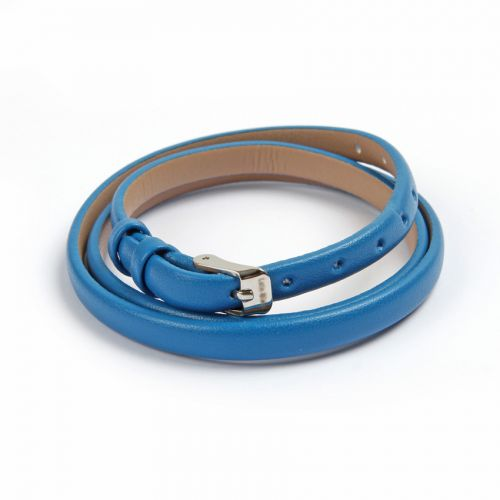 """X"" Blue Faux Leather Bracelet Strap with Buckle and Holes 62cm Pk1"
