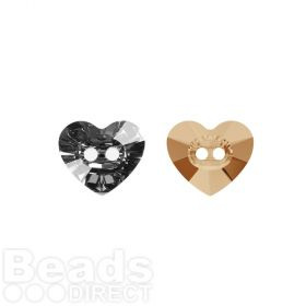 3023 Swarovski Crystal Button Heart 10.5x12mm Crystal Rose Gold Pk1