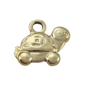 Turtle / charm pendant / 13x13x3mm / gold / hole 2mm / 1pcs