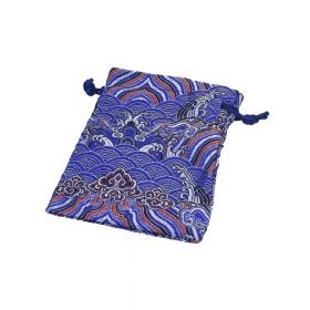 Satin pouch with pattern / 14x10cm / blue / 2pcs