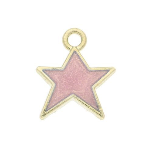 SweetCharm ™ Christmas star / charm pendant / 14x12x2mm / pale pink / gold plated / 2pcs