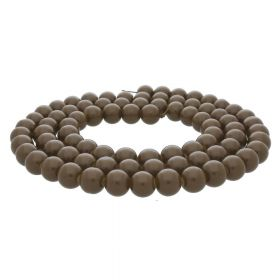 Coated beads / round / 6mm / brown / 130pcs