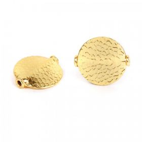 Gold Plated Hammered Coin Bead 20mm Pk2