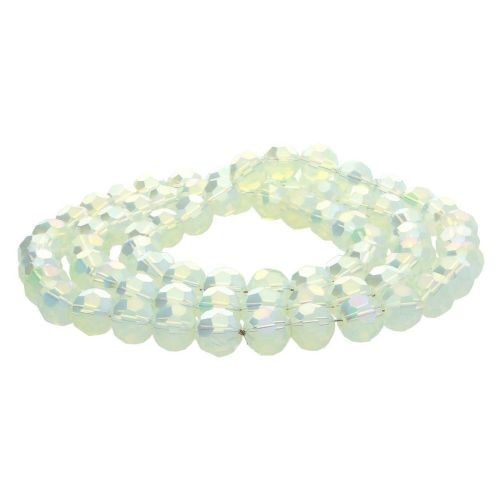 CrystaLove™ crystals / glass / faceted round / 8mm / milky lemon / iridescent / 65pcs