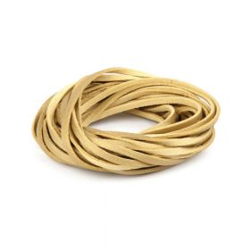 Double Sided Leather/Suede 3mm Flat Cord Gold 5m