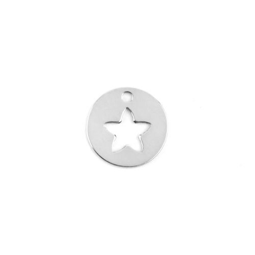 X-Sterling Silver 925 Tiny Charm Cut Out Star 8mm Pk1