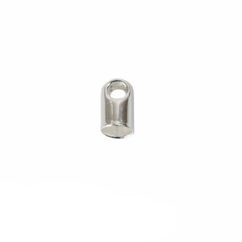 Silver plated cord end glue-in style 4x7mm