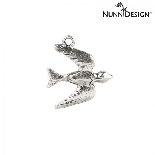 Nunn Design Antique Silver Bird Charm 19x20mm Pk1