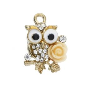 Glamm ™ Owl / charm pendant / with zircons / 21x15x5.5mm / gold plated / cream-crystal / 1pcs