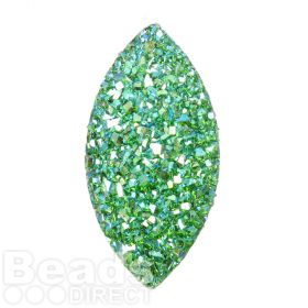 Jade AB Sparkly Resin Marquise Flat Back Cabochon 13x26mm Pk10