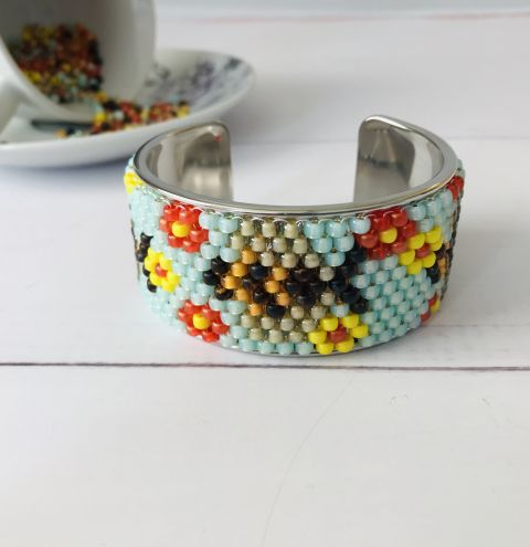 How to make a peyote cuff bracelet - even count peyote  step by step tutorial