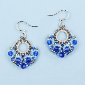 Majestic Blue Beaded Fan TAMB Earrings made with Swarovski - Makes x2 Pairs