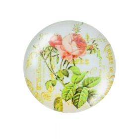 Glass cabochon with graphics K20 PT1339 / green / 20mm / 2pcs