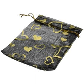 Organza bag / 10x12cm / black with gold hearts / 5pcs
