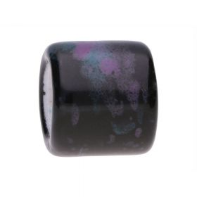 Ceramic beads / cylinder / 15x17mm / black, sea, purple / hole 10mm / 2pcs