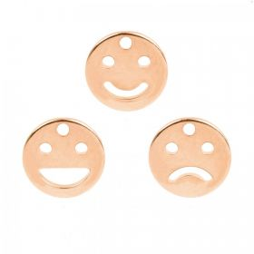 Rose Gold Plated Emoji Charms Pack of 3 10mm