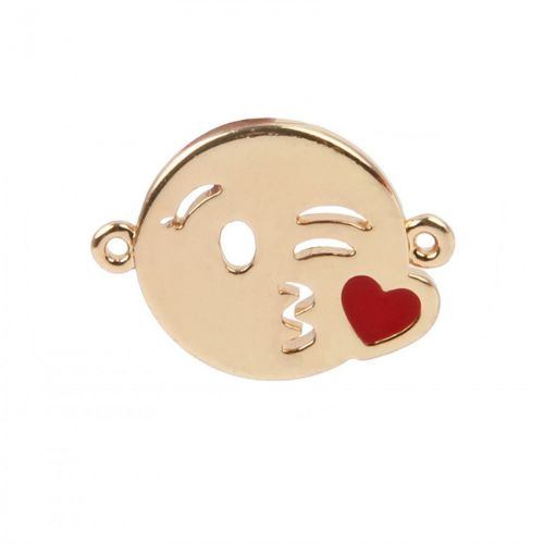 Gold Plated Emoji Connector Charm Kissing Face 12mm Pk1