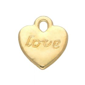 Love heart / charm pendant / 11x10x2mm / gold plated / 8pcs