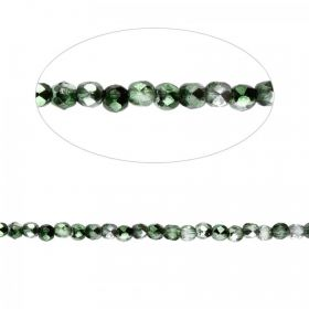 Fern Green Mirror Effect Czech Glass Fire Polish Beads 2mm Pk100