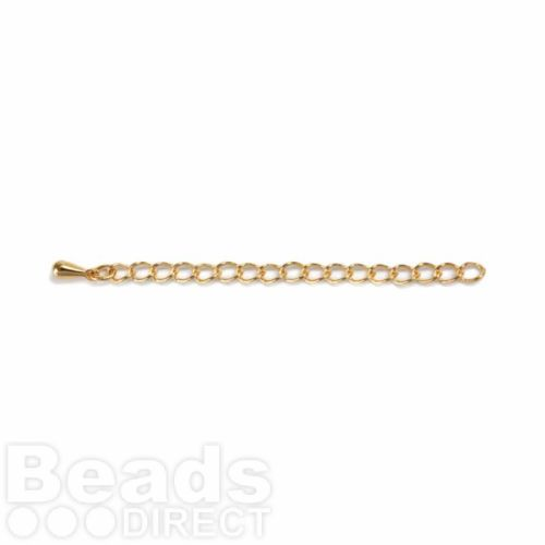 Gold Plated Extension Chain 4x57.1mm with Teardrop Pk6