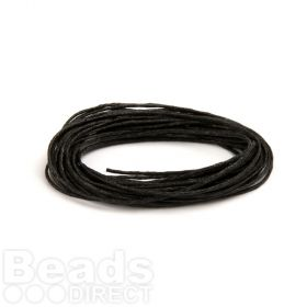 Waxed Cotton Cord 1mm Black 5metres
