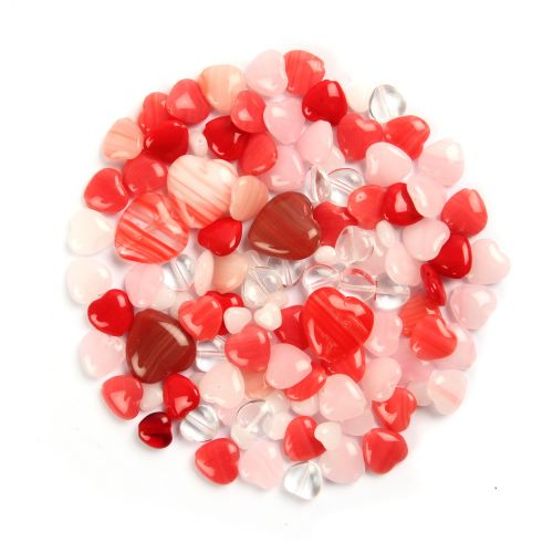 Preciosa Czech Glass Heart Mix Red and White Assorted Sizes 50g