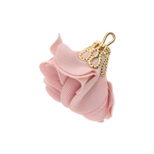 Satin Flower / with an openwork tip / 26mm / Gold Plated / light pink / 2 pcs