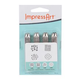 ImpressArt Assorted Embossing Texture Stamp Pack Large 65mm 6mm Pk4