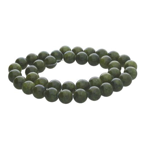 Jade / round / 12mm / olive green / 34pcs