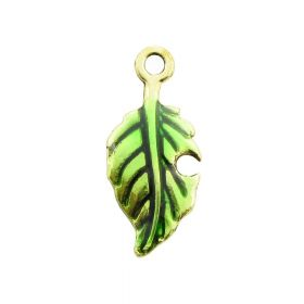 FancyCharm™ / leaf / charm pendant / 23x10mm / gold plated / hole 2mm / 2pcs