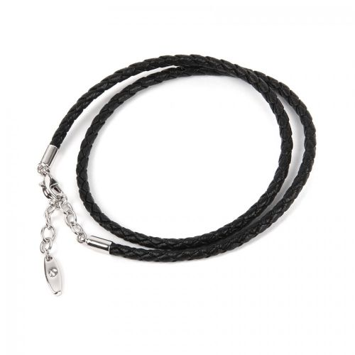 80010 Swarovski Black Leather Bracelet Base Rhodium 36cm Pk1