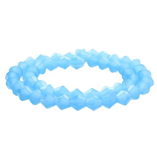 CrystaLove™ crystals / glass / bicone / 4mm / milky bright blue / lustered / 110pcs