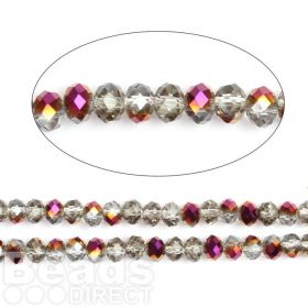 "Amethyst 1/2 Coated Essential Crystal Glass Faceted Rondelle Beads 8mm 16""Strand"