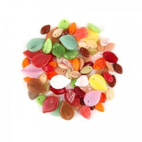 Preciosa Czech Glass Bead Mix Leaves Multi Colour 50g