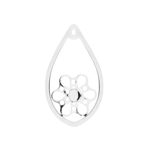 Silver Plated Drop Flower Pendant Holds SS20 26x44mm Pk1