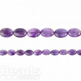 "Amethyst Flat Oval Beads 10x14mm 15.5"" Strand"