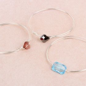 Silver Crystal Bangle Kit made with Swarovski TAMB makes x4